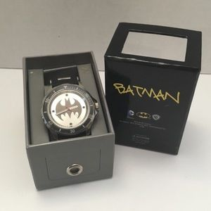 Batman watch NEW leather and chrome band